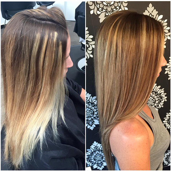 color correction for brunette hair with highlights