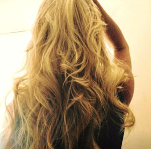 Amber blonde wavy long hair