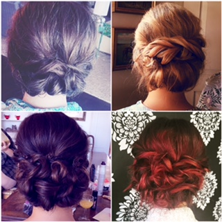 Four examples of formal up-do looks for long hair.