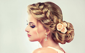 formal braid up-do with flowers