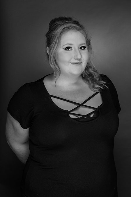 black and white portrait of studio 39 stylist sierra