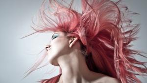 pink hair flowing
