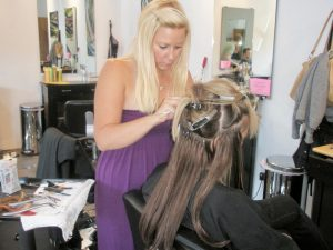 gemy doing hair extensions