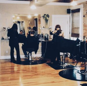 girls cutting hair