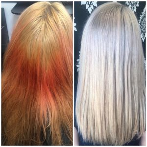 color correction brunette to balayage blonde